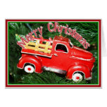 Little Red Pick-up Truck Christmas Ornament (2) Greeting Card