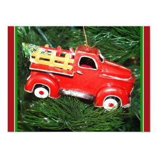 Little Red Pick-up Truck Christmas Ornament (2) 6.5x8.75 Paper Invitation Card