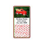Little Red Pick-up Truck Christmas Ornament (2) Address Label