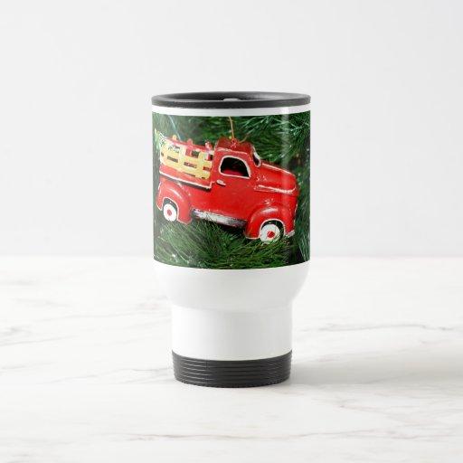 Little Red Pick-up Truck Christmas Ornament (2) 15 Oz Stainless Steel Travel Mug