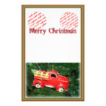 Little Red Pick-up Truck Christmas Ornament (2) Customized Stationery