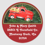 Little Red Pick-up Truck Christmas Ornament (2) Classic Round Sticker