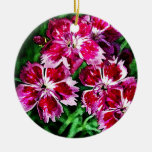 Little Red Pink and White Flowers Christmas Tree Ornament