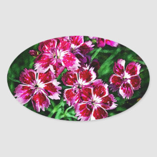 Little Red Pink and White Flowers Oval Sticker