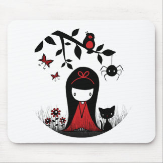 Little Red Ribbon Head Mouse Pad