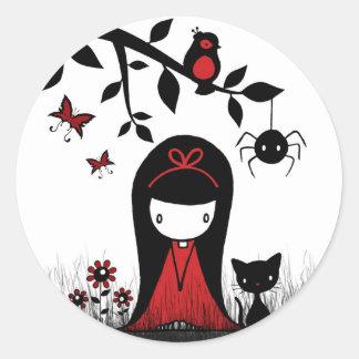 Little Red Ribbon Head Round Sticker