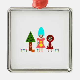 Little Red Riding Hood and Grandma 344 Metal Ornament