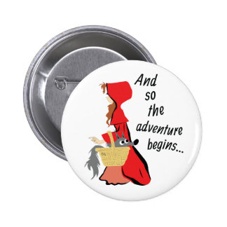 Little Red Riding Hood and Her Wolf Pup Pinback Button