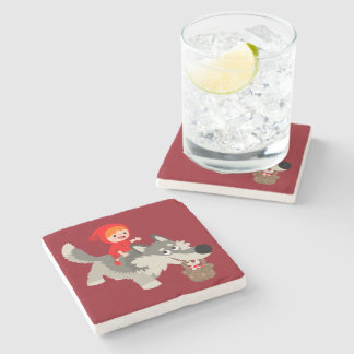 Little Red Riding Hood and The Wolf Stone Coaster