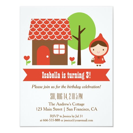 Little Red Riding Hood Birthday Party Invitations – Red Party Invitations