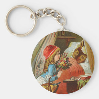 Little Red Riding Hood by Carl Offterdinger Basic Round Button Keychain