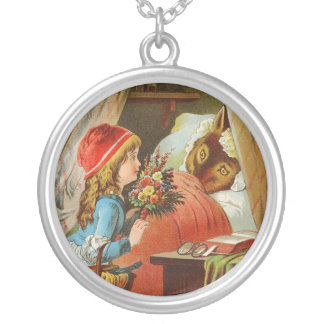 Little Red Riding Hood by Carl Offterdinger Round Pendant Necklace