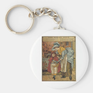 Little Red Riding Hood by Walter Crane 1845 ~ 1915 Basic Round Button Keychain