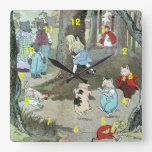 Little Red Riding Hood: End Pages Square Wall Clocks