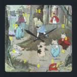 "Little Red Riding Hood: End Pages Square Wall Clock<br><div class=""desc"">Original illustrations from Little Red Riding Hood - Retold; printed in 1921. The end pages of Little Red Riding Hood include: Goldilocks and the Three Bears, Chicken Little, The Three Little Pigs, Little Red Riding Hood and the Big Bad Wolf. Available in English and Spanish on Amazon Little Red Riding...</div>"
