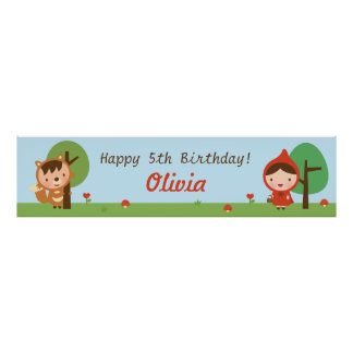 Little Red Riding Hood Girls Birthday Party Banner Poster