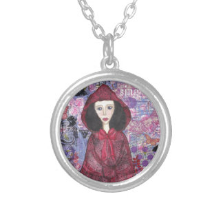 Little Red Riding Hood in the Woods 001.jpg Round Pendant Necklace