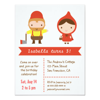 Little Red Riding Hood Kids Birthday Party 4.25x5.5 Paper Invitation Card