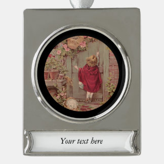 Little Red Riding Hood Knocking on Door Silver Plated Banner Ornament
