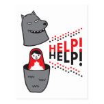 little red riding hood matryoshka and help! postcard