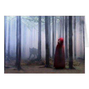 Halloween Themed Little Red Riding Hood on Halloween Card