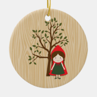 Little Red Riding Hood Double-Sided Ceramic Round Christmas Ornament