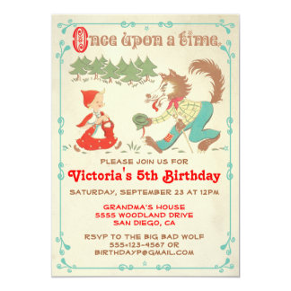 """Little Red Riding Hood Party Invitations 5"""" X 7"""" Invitation Card"""