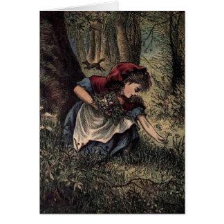 Little Red Riding Hood Picking Flowers Greeting Card