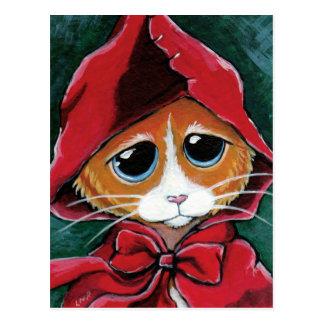 Little Red Riding Hood Tabby Cat Art Postcard