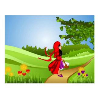 Little Red Riding Hood Taking a Walk Postcard