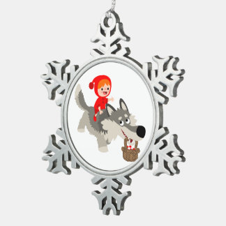 Little Red Riding Hood & The Wolf Pewter Ornament