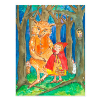 Little Red Riding Hood Wolf Owl Forest Postcard