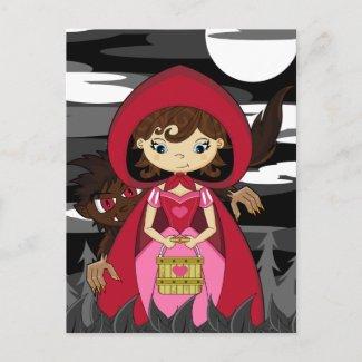 Little Red Riding Hood & Wolf Postcard postcard