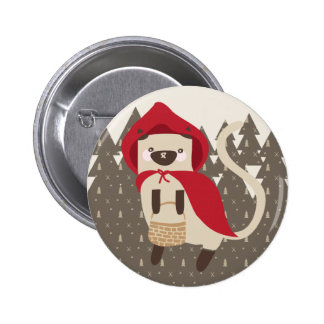 Little Red Riding Kitty Button
