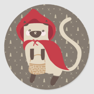 Little Red Riding Kitty Classic Round Sticker