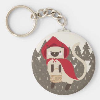 Little Red Riding Kitty Keychain
