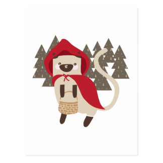 Little Red Riding Kitty Postcard