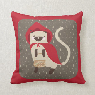 Little Red Riding Kitty Throw Pillow