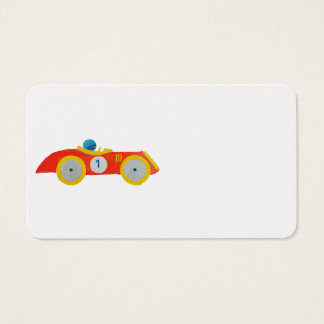 Little Red Roadster Racing Car Child 1st Birthday Business Card