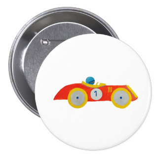 Little Red Roadster Racing Car Child 1st Birthday Button