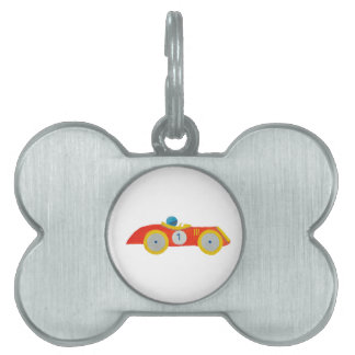 Little Red Roadster Racing Car Child 1st Birthday Pet Tag
