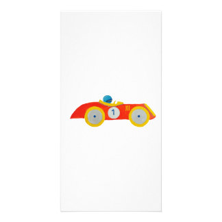 Little Red Roadster Racing Car Child 1st Birthday Photo Card