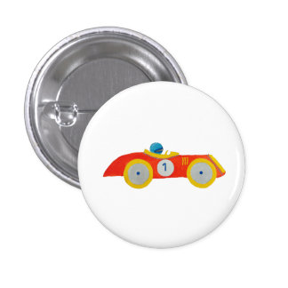 Little Red Roadster Racing Car Child 1st Birthday Pinback Button