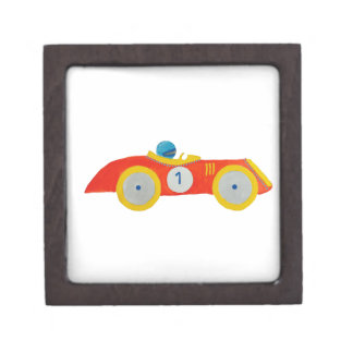 Little Red Roadster Racing Car Child 1st Birthday Premium Keepsake Boxes