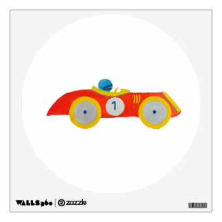 Little Red Roadster Racing Car Child 1st Birthday Room Stickers
