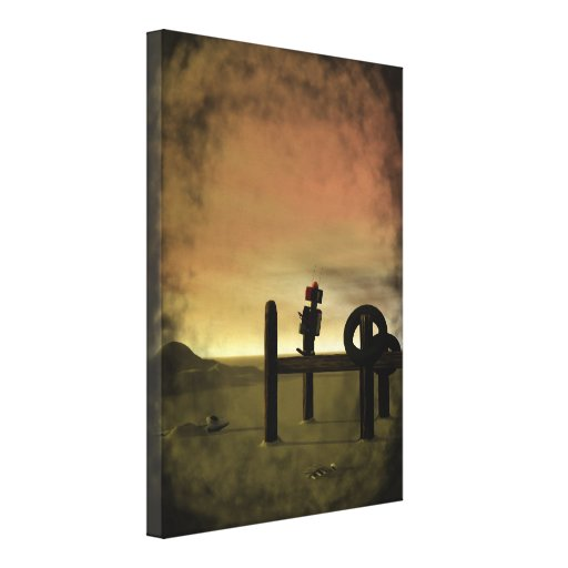 Little Red Robot 2 Stretched Canvas Print