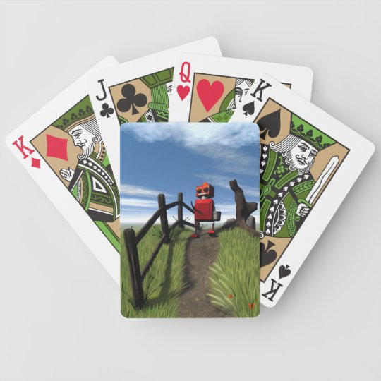 Little Red Robot Bicycle Playing Cards