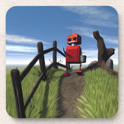 Little Red Robot Cork Coaster