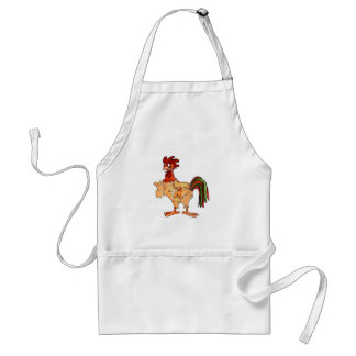 Little Red Rooster Hand Colored Adult Apron