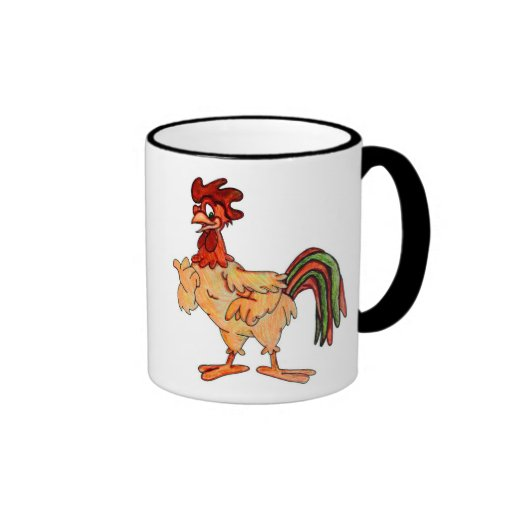 Little Red Rooster Hand Colored Mugs
